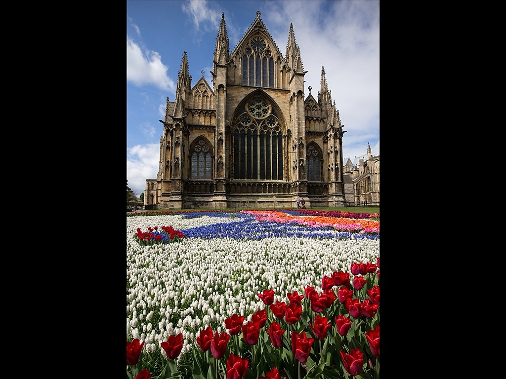 Lincoln Cathedral and Flowers (C) Mike Atkinson