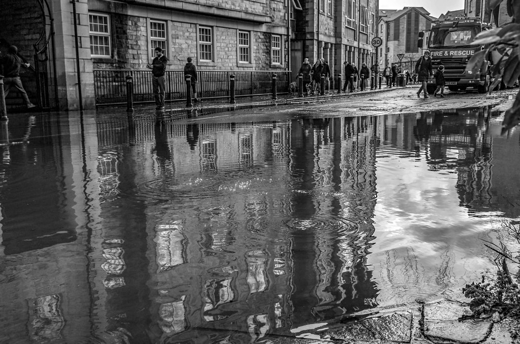 'Damside street under water' Copyright (C) Ruth Lochrie 2018
