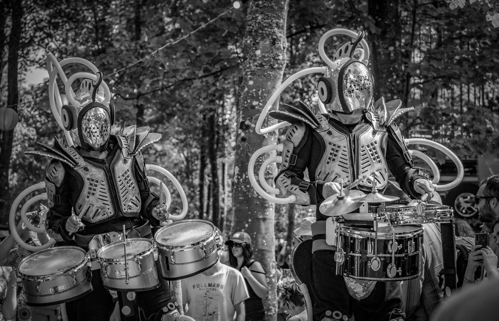 'Drumming through the woods' Copyright (C) Ruth Lochrie 2019