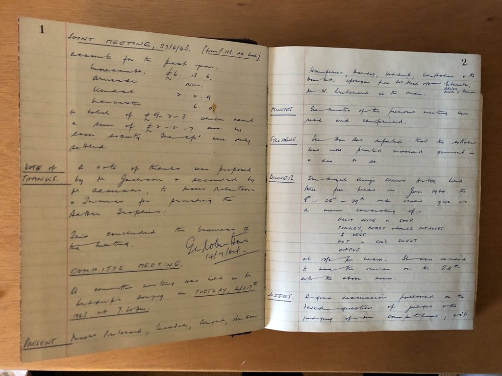 First page of the minutes book, 1963.